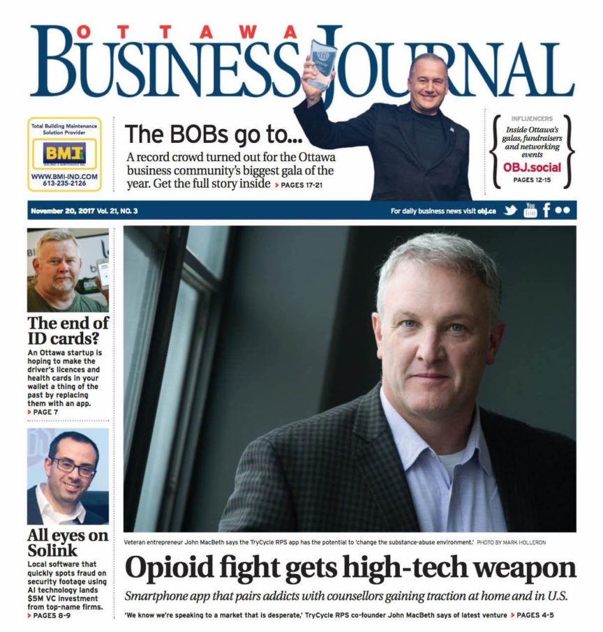 TryCycle on the cover of the Ottawa Business Journal!